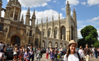 Liz at King's College in Cambridge